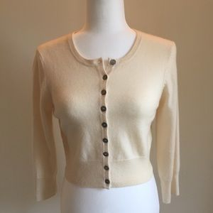 Boden 100% cashmere ivory cropped sweater size 6